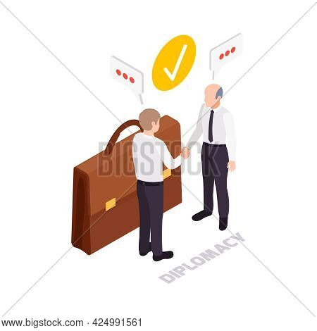 Soft Skills Diplomacy Concept Icon With Briefcase And Two Characters Shaking Hands 3d Vector Illustr