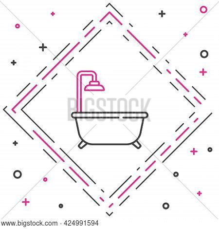 Line Bathtub With Shower Icon Isolated On White Background. Colorful Outline Concept. Vector