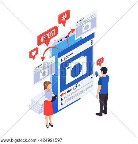 Social Media Marketing Color Icon With Internet Post Repost Characters 3d Vector Illustration