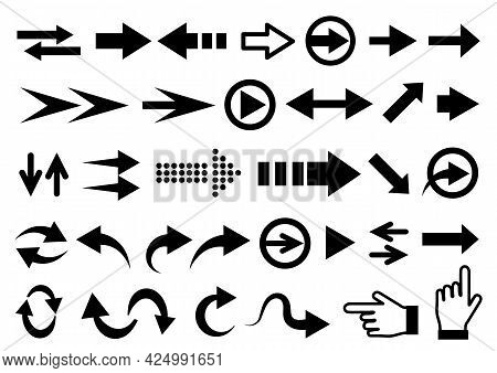 Arrows Set. Vector Illustration. Set Different Arrows Or Web Design. Arrow Flat Style Isolated On Wh