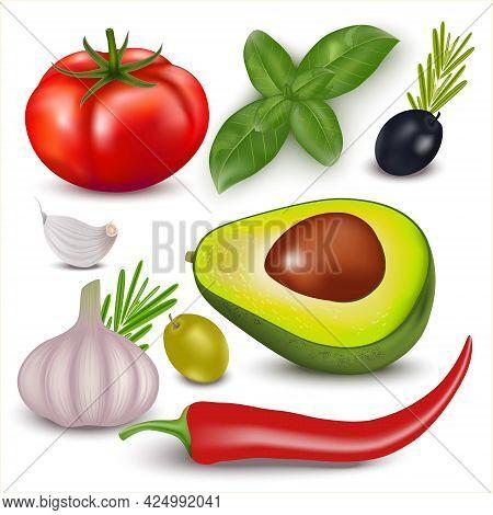 Group Of Vegetables On A White Background. Garlic Avocado Tomato Basil, Olives, Rosmary, Jalapeno Pe