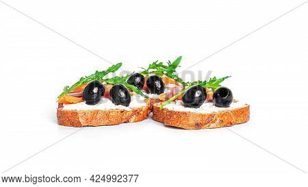 Bruschetta With Cream Cheese, Salmon And Vegetables Isolated On A White Background. Toasts Isolated.