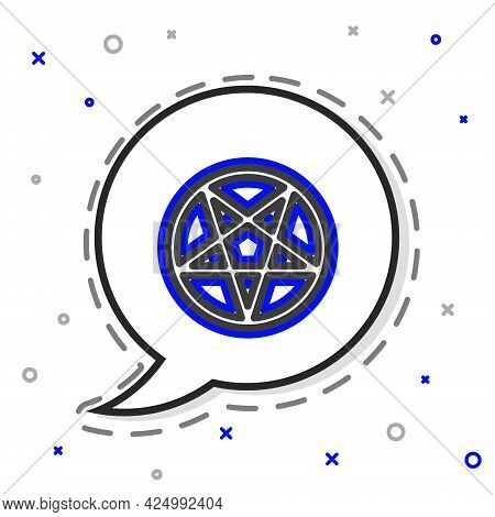 Line Pentagram In A Circle Icon Isolated On White Background. Magic Occult Star Symbol. Colorful Out