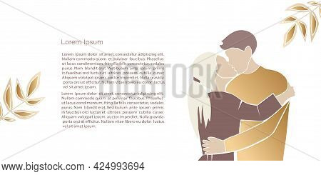 Cute Abstract  Illustrations Lovers,  Abstract Couple Shapes And Silhouette In Gold Colour. Vector P