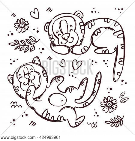 Tiger Kids Sleeps And Tumble Cute Children Kittens Among Flowers Hearts And Branches Monochrome Hand