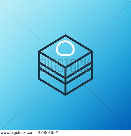 Line Brownie Chocolate Cake Icon Isolated On Blue Background. Colorful Outline Concept. Vector