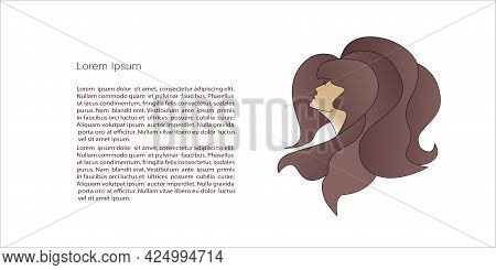 Chic Logo  Female Beauty. Profile Portrait Of A Girl With Thick Hair, Luxury Logo.. Vector Template