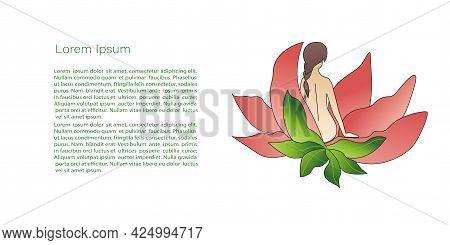 Abstract Vector, Beauty Logo, Girl In Flower Emblem. Beauty Salon, Spa Treatments Or Yoga Club. Vect