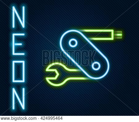 Glowing Neon Line Swiss Army Knife Icon Isolated On Black Background. Multi-tool, Multipurpose Penkn
