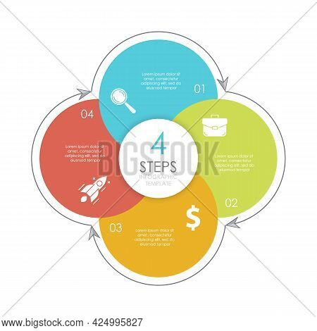 Circle Infographic Template With 4 Options, Elements Or Steps. Business Concept For Presentations, L