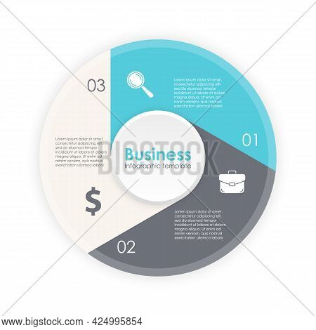 Circle Infographic Template With 3 Options, Elements Or Steps. Business Concept For Presentations, L
