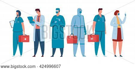 Healthcare Workers. Medical Team Of Doctors, Nurses, Surgeons, Physicians In Medic Uniform. Hospital