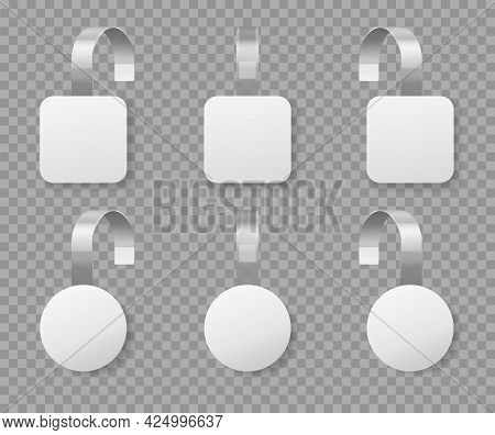 White Wobblers. Realistic Round Price Tag, Supermarket Advertising Wobbler Template. White Retail St