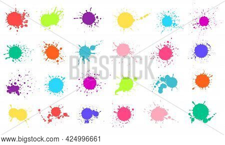 Paint Splashes. Colorful Liquid Paints Splatter. Colored Ink Drops, Stains, Blots. Abstract Grunge C