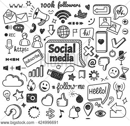 Social Media Doodles. Hand Drawn Internet And Network Sketch Symbols. Digital Marketing, Blogging, O