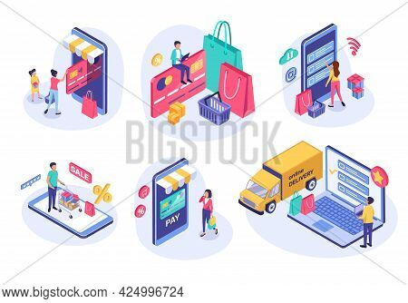 Isometric Online Shopping. People Buying Online Using Phone. E-commerce, Digital Payment, Sale Disco