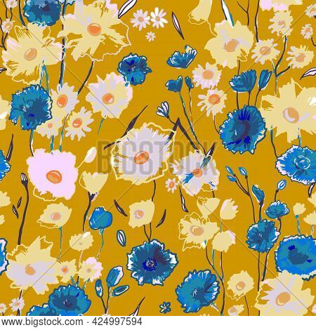 Cute Pattern With Small Blue And White Flowers On Yellow. Liberty Style. Drawn Floral Seamless Meado