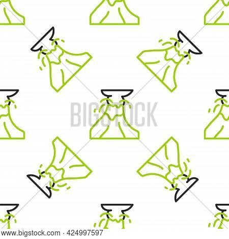 Line Volcano Eruption With Lava Icon Isolated Seamless Pattern On White Background. Vector