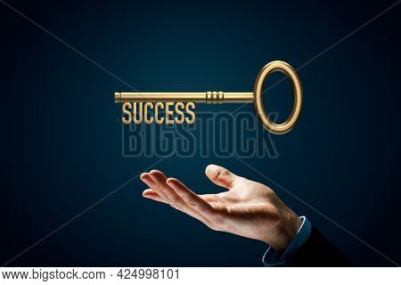 Coach Has A Key To Success - Motivation Concept. Coach Hand (manager, Mentor, Hr Specialist) With Ke