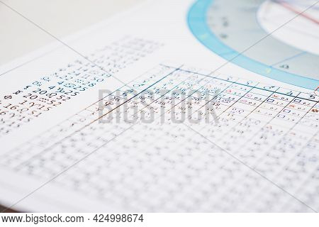 Modern Astrologer's Desktop. Astrological Charts And Tables With The Coordinates Of The Planets, Ast