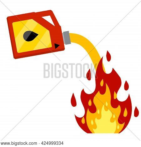 Canister With Fuel. Red Gas Tank. Container With Oil. Flammable Object. Danger And Fire. Watering A