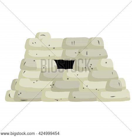 Barricade Of Sandbags. Fortified Firing Point. Defense Construction. Modern Warfare. Wall Of The Bag