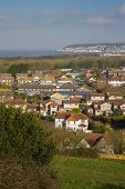 View of Weston-Super-Mare looking over Uphill village poster
