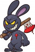 Evil cartoon black bunny. Vector clip art illustration with simple gradients. All in a single layer. poster