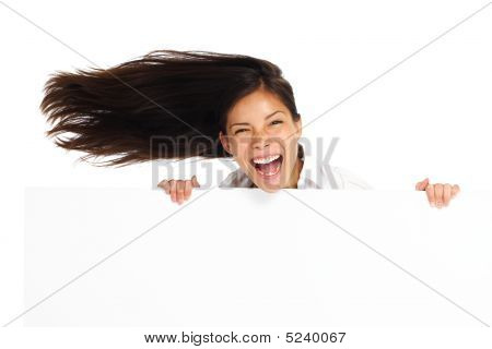 Excited Billboard Woman