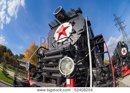 Old Steam Locomotive With Red Star