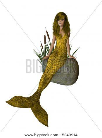 Gold Mermaid Sitting On A Rock