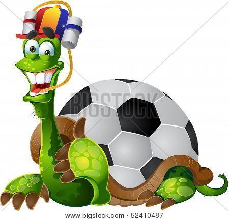 vector turtle football fan