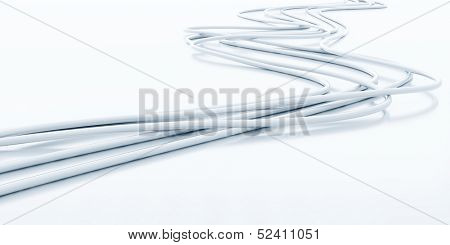 bright fiber-optical cables on a white background