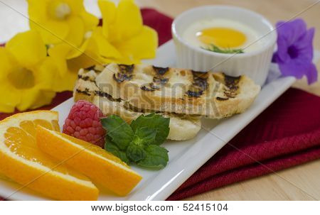 Breakfast Baked Egg With Fruits And Bread