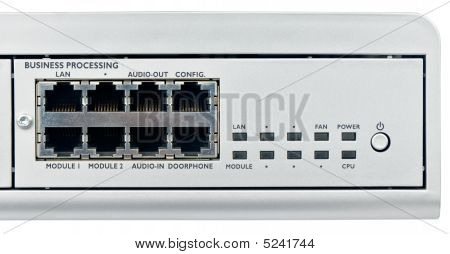 Phone switch system cpu module front view isolated on white poster