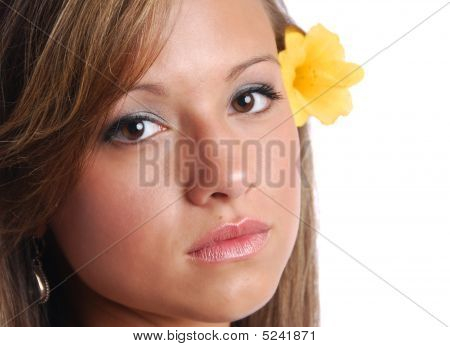 Pretty Girl With Flower Over Ear