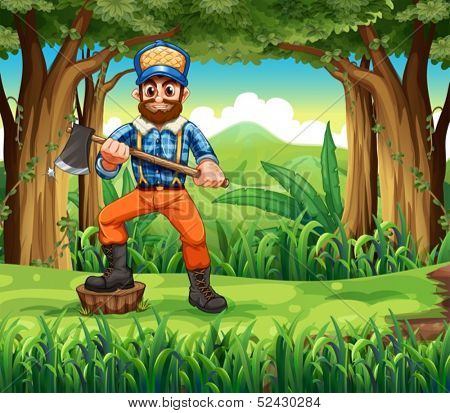 Illustration of a woodman stepping at a stump in the forest