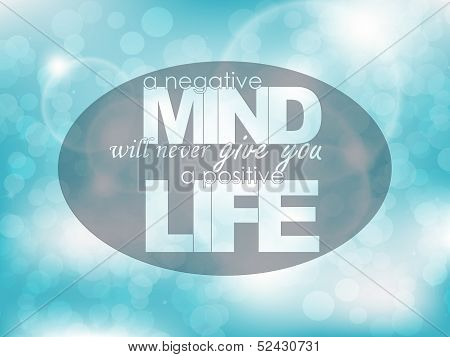 A negative mind will never give you a positive life. Typography background. Motivational poster. poster