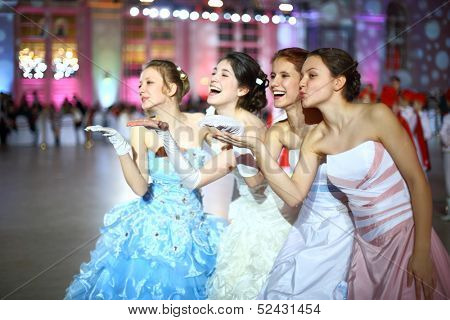 MOSCOW - FEB 22: Cheerful girl sent kisses to the ball, on February 22, 2013 in Moscow, Russia.