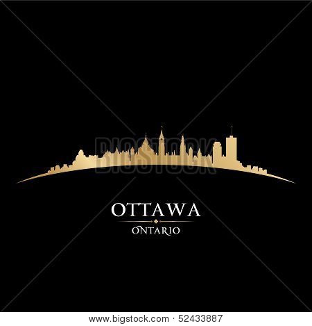 Ottawa Ontario Canada City Skyline Silhouette Black Background