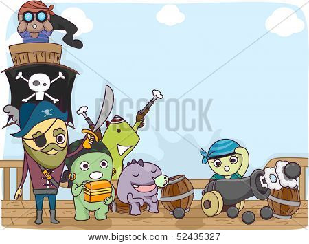 Illustration of a Pirate Crew Composed of Cute Little Monsters Standing on the Deck of the Ship