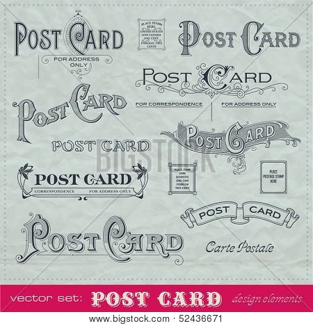 set of hand-lettered calligraphic elements for postcard backs