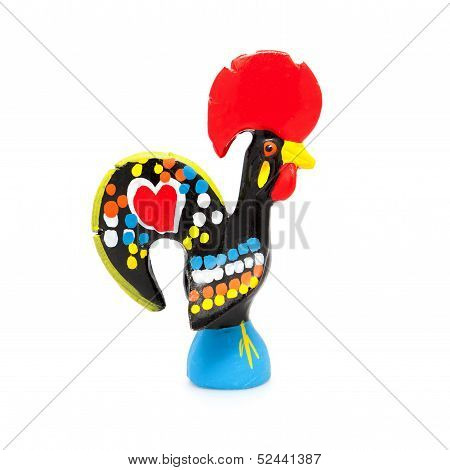 Traditional Ceramic Rooster from Barcelos Portugal on white poster