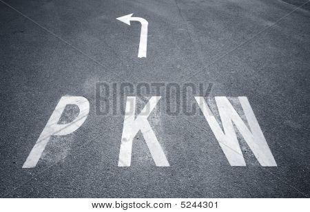 Pkw Sign On Asphalt