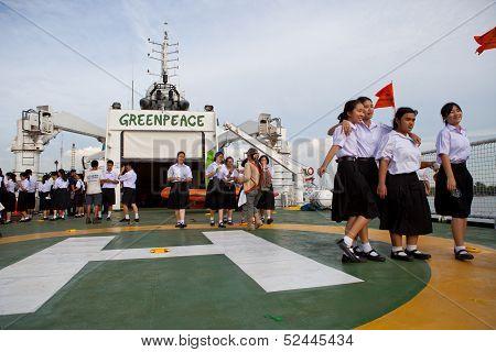 BANGKOK THAILAND - Jun 27 Unidentified young student  walking on the esperanza ship of greenpeace  i