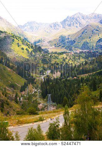 Pass in the mountains near Alma-Ata, Kazakhstan poster