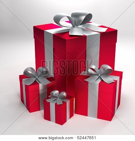 four red gift packages with silver ribbons and bows