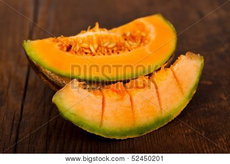 Yellow Melon On Wooden Table