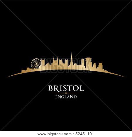 Bristol England City Skyline Silhouette Black Background