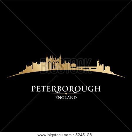 Peterborough England City Skyline Silhouette Black Background